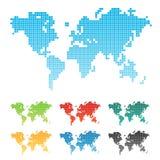 översikt pixelated värld vektor illustrationer