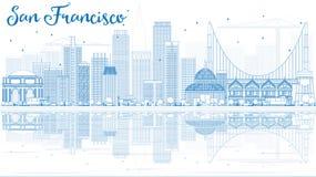 Översikt San Francisco Skyline med blåa byggnader och reflexion stock illustrationer