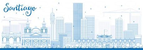 Översikt Santiago Chile Skyline med blåa byggnader royaltyfri illustrationer