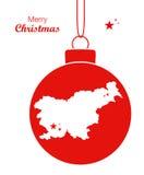 Översikt Slovenien för glad jul royaltyfri illustrationer