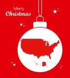 Översikt USA för glad jul stock illustrationer
