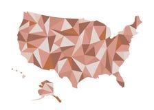 översikt USA Isolerad vektorillustration Förenta staterna av Ameri Arkivbilder