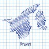 Översikten av Brunei, blått skissar abstrakt bakgrund royaltyfri illustrationer