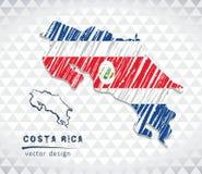 Översikten av Costa Rica med den drog handen skissar pennöversikten inom också vektor för coreldrawillustration royaltyfri illustrationer