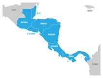 Översikten av den Central America regionen med blått markerade centrala amerikanska tillstånd Etiketter för landsnamn Enkel plan  vektor illustrationer