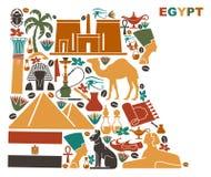 Översikten av Egypten gjorde av nationella symboler royaltyfri illustrationer