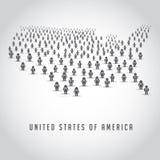 Översikten av Förenta staterna utgjorde av en folkmassa av folksymboler Arkivfoto