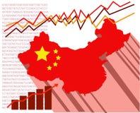 Översikten av folket Republiken Kina med ekonomiska grafer bakom Royaltyfria Bilder