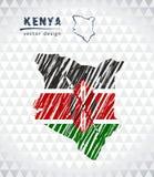Översikten av Kenya med den drog handen skissar pennöversikten inom också vektor för coreldrawillustration royaltyfri illustrationer