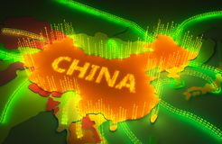 Översikten av Kina surronded vid en binär firewall royaltyfri illustrationer
