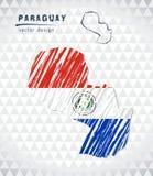 Översikten av Paraguay med den drog handen skissar pennöversikten inom också vektor för coreldrawillustration vektor illustrationer