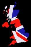 Översikten av Storbritannien klippte ut med den brittiska flaggan Royaltyfri Bild
