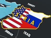 Översikten av Syrien delade med USA och Ryssland flaggor med omgeende länder - 3D framför Fotografering för Bildbyråer