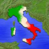 översikten 3D av Italien målade i färgerna av den italienska flaggan Illustration av den stiliserade gelépajen Royaltyfri Foto
