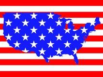 översikten för flaggan 3d framför USA Royaltyfri Bild