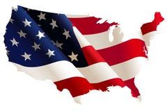 översikten för flaggan 3d framför USA Royaltyfri Foto