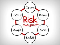 Översikten för meningen för riskledning - ignorera, acceptera, undvik, förminska, överför och exploatera royaltyfri illustrationer