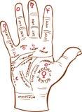 översikten gömma i handflatan avläsning vektor illustrationer