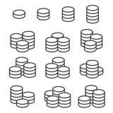 Översikten myntar symboler ställde in på vit bakgrund vektor arkivfoto