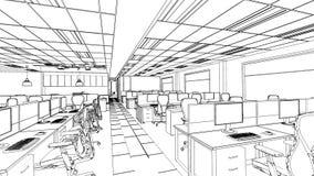 Översikten skissar av ett inre kontorsområde Royaltyfri Bild