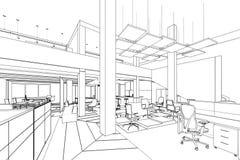 Översikten skissar av ett inre kontorsområde Royaltyfria Foton