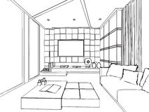 Översikten skissar inre perspektiv för teckning av huset Arkivbild