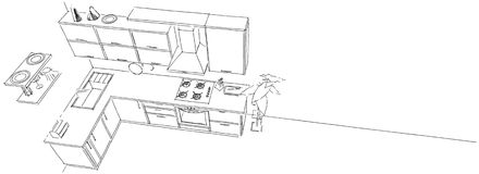 Översikten skissar teckningen av den moderna kökinre på bästa sikt för lång bakgrund Stock Illustrationer