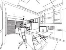 Översikten skissar teckningsperspektiv av ett utrymmekontor Arkivfoton