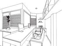 Översikten skissar teckningsperspektiv av ett utrymmekontor Arkivbild