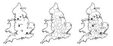 Översikter av England med och utan län och viktiga städer Arkivbilder