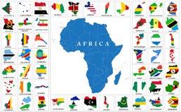 Översikter för Afrika landsflagga stock illustrationer