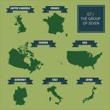 Översikter för land G7 Royaltyfri Fotografi
