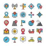 Översikter och navigering färgad vektorsymbolsuppsättning 2 Royaltyfria Bilder