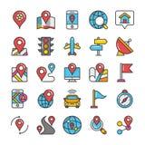 Översikter och navigering färgad vektorsymbolsuppsättning 1 Royaltyfria Bilder