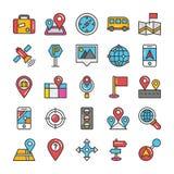 Översikter och navigering färgad vektorsymbolsuppsättning 4 Royaltyfria Bilder