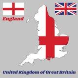 Översiktsöversikten och flaggan av England, är det ett rött centrerat kors på vit en flagga för bakgrund och för facklig stålar stock illustrationer