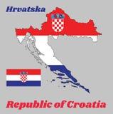 Översiktsöversikten och flaggan av Kroatien, är det ett horisontaltricolor av rött, vitt, och blått med vapenskölden av Kroatien  arkivbild