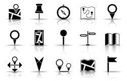 Översikts- och markörsymbolsuppsättning stock illustrationer