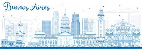 ÖversiktsBuenos Aires horisont med blåa gränsmärken royaltyfri illustrationer