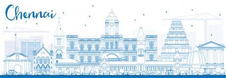 ÖversiktsChennai horisont med blåa gränsmärken stock illustrationer