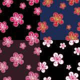 ÖversiktsCherry Flowers bakgrund i mörka färger. Vektor Illustrationer