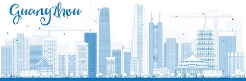 ÖversiktsGuangzhou horisont med blåa byggnader Arkivfoton