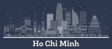 ?versiktsHo Chi Minh Vietnam City horisont med vita byggnader stock illustrationer