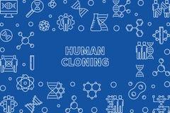 Översiktshorisontalram för mänsklig kloning också vektor för coreldrawillustration stock illustrationer