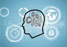 översiktshuvudet med 3D förser med kuggar hjärnan på en teknologisk bakgrund Arkivfoto