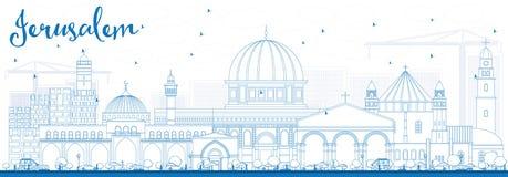 ÖversiktsJerusalem horisont med blåa byggnader