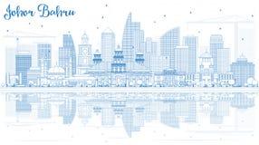 ÖversiktsJohor Bahru Malaysia horisont med blåa byggnader och referens royaltyfri illustrationer