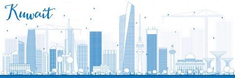 ÖversiktsKuwait City horisont med blåa byggnader Arkivfoto