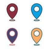 Översiktslägeuppsättning av symboler - rengöringsduk undertecknar - fastställt färgrikt för navigering Arkivfoto