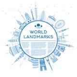 Översiktsloppbegrepp runt om världen med berömd internationa Arkivbild